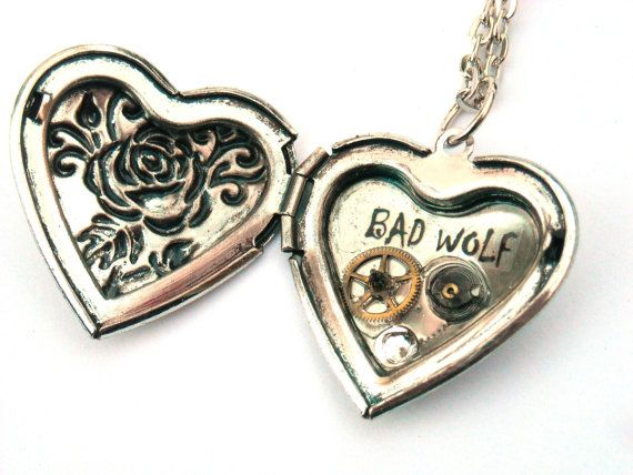 "Doctor Who Necklace Heart Locket ""Rose Tyler, the Bad Wolf No.1"" by TimeMachineJewelry"