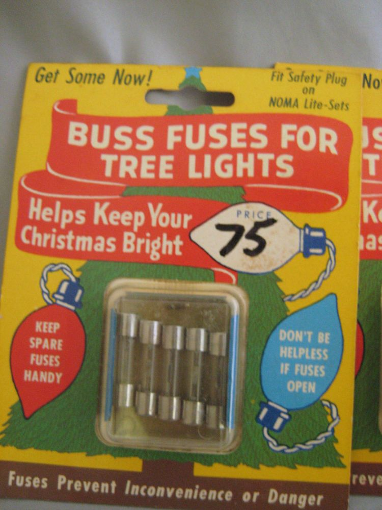 vintage lot replacement safety fuses christmas lights buss fuses work on nomafuses
