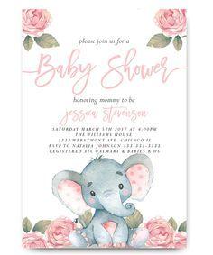Elephant baby shower invitation,Elephant with flowers, elephant, pink elephant, vintage elephant,baby shower invitation,cheap baby shower invitation, its a girl, cute baby shower invitation