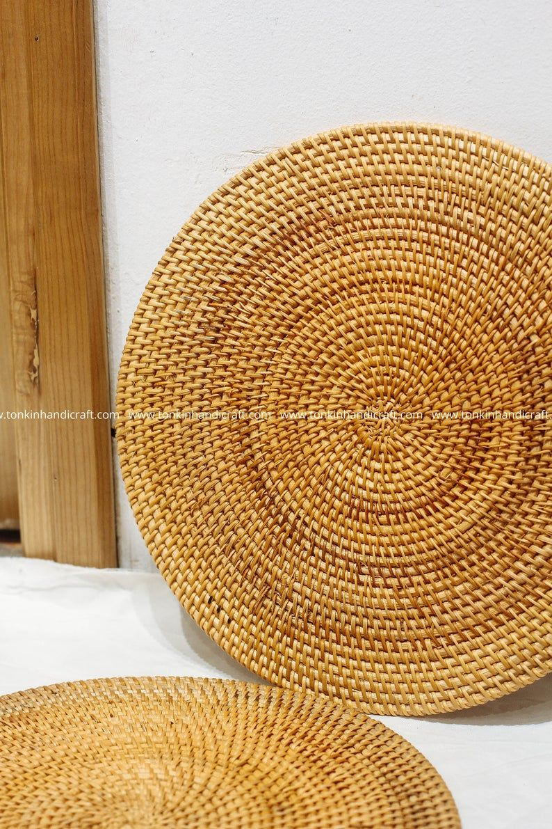 Set Of 2 Round Rattan Handmade Placemat Braided Mat Heat Resistant Hot Insulation Vintage Natural Decor Table Top Tablewares Rustic Decor Woven Placemats Woven Baskets Storage Wicker Baskets Storage