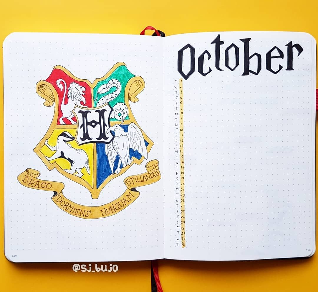 The Yellow Bujo On Instagram Love Making This Harry Potter Themed Month For The Custom Bujo I Have Bullet Journal Themes Bullet Journal Harry Potter Journal