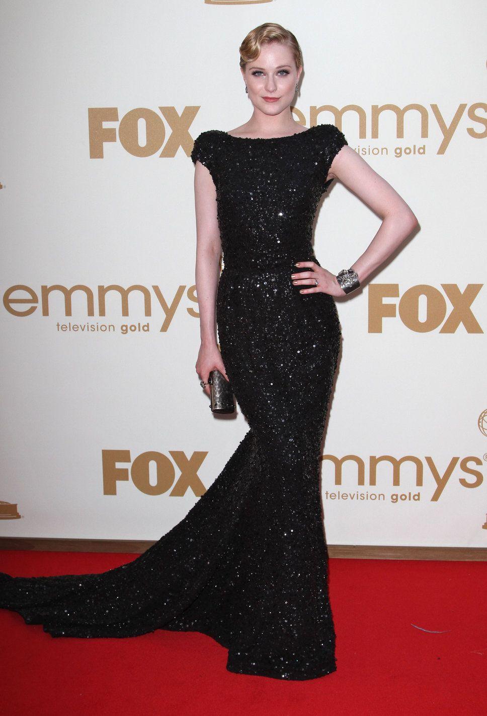 Black dress hollywood - Evan Rachel Wood Old Hollywood Glam Black Long Dress Blond 40s Updo Black Clutch