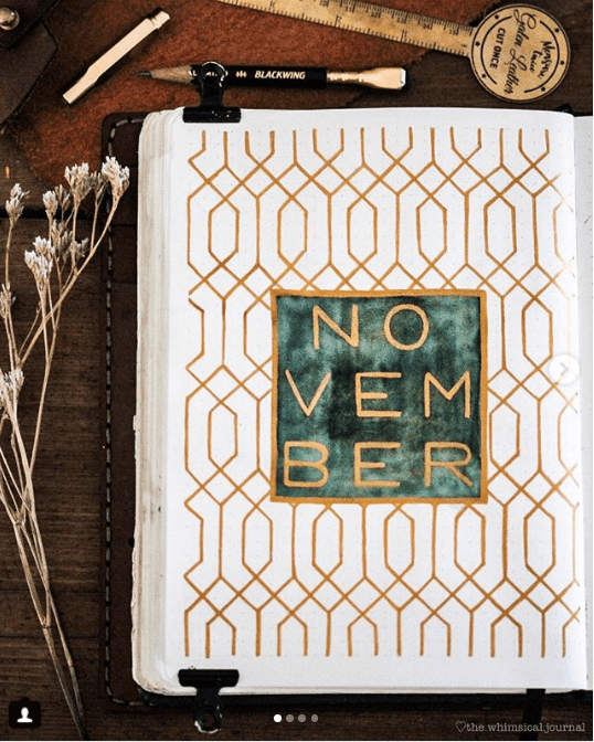30 Shimmering Gold Bullet Journal Layouts | ElizabethJournals #bulletjournaloctobre