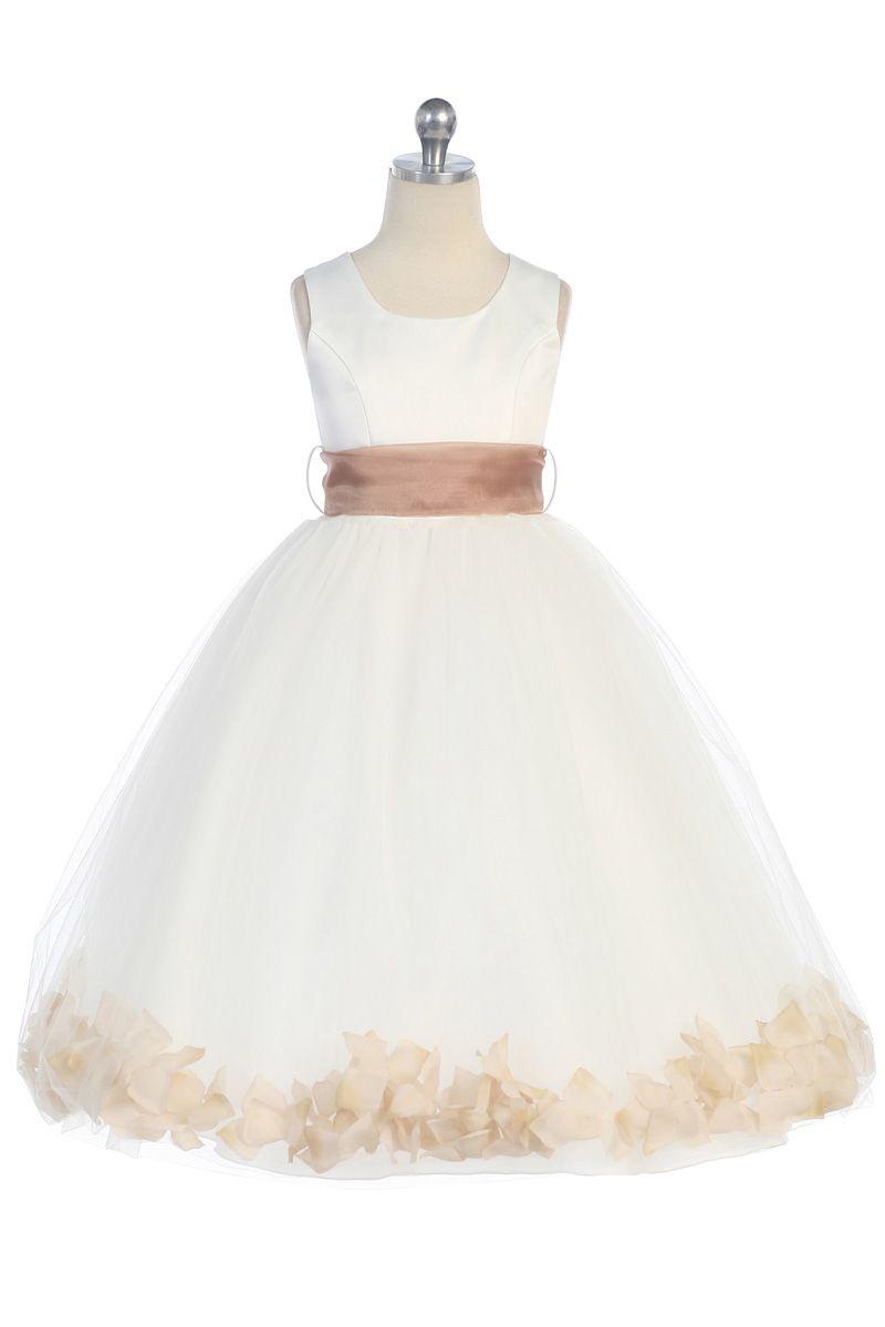 265999137d Taupe Satin   Tulle Flower Girl Dress with Petals   Sash G2570TU  39.95 on  www.GirlsDressLine.Com