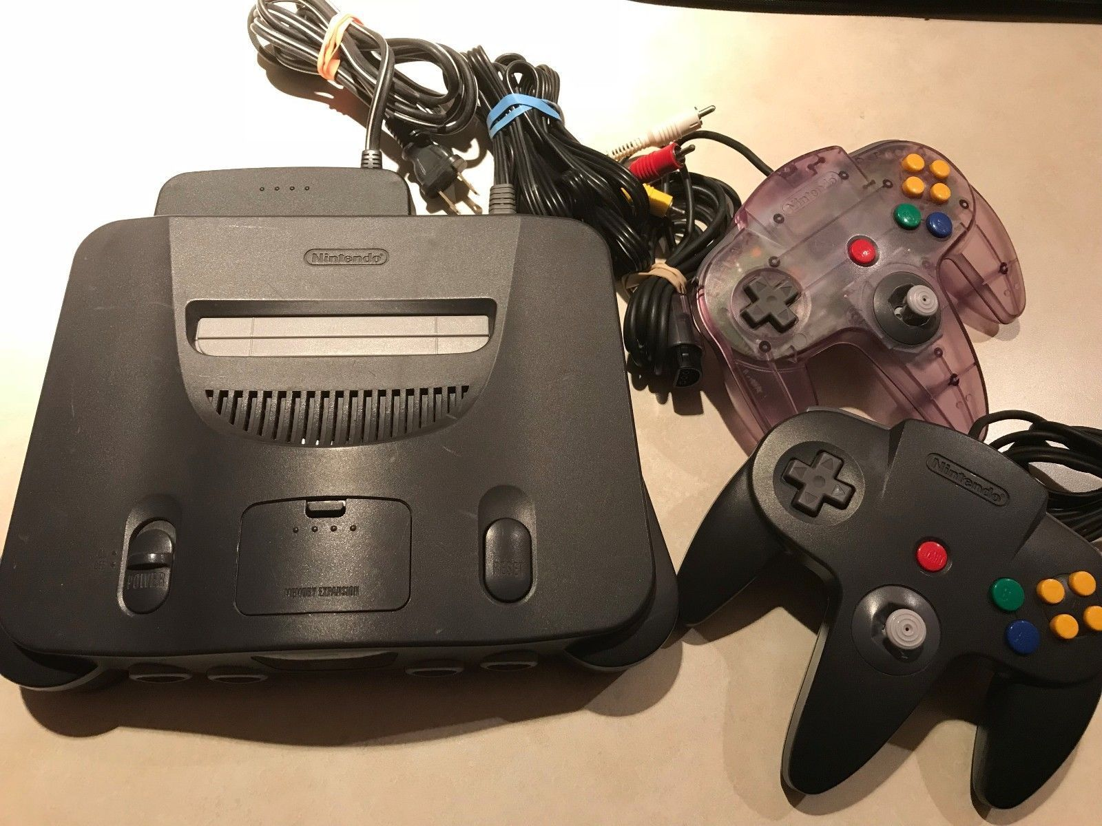NINTENDO 64 N64 Console with 2 controllers ATOMIC PURPLE and