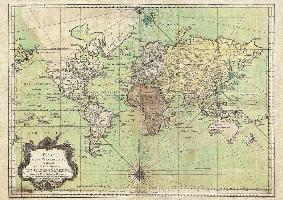 Bellin world map nautical chart 1778 vintage poster reprint a4 bellin world map nautical chart 1778 vintage poster reprint a4 21 x 297 gumiabroncs Images