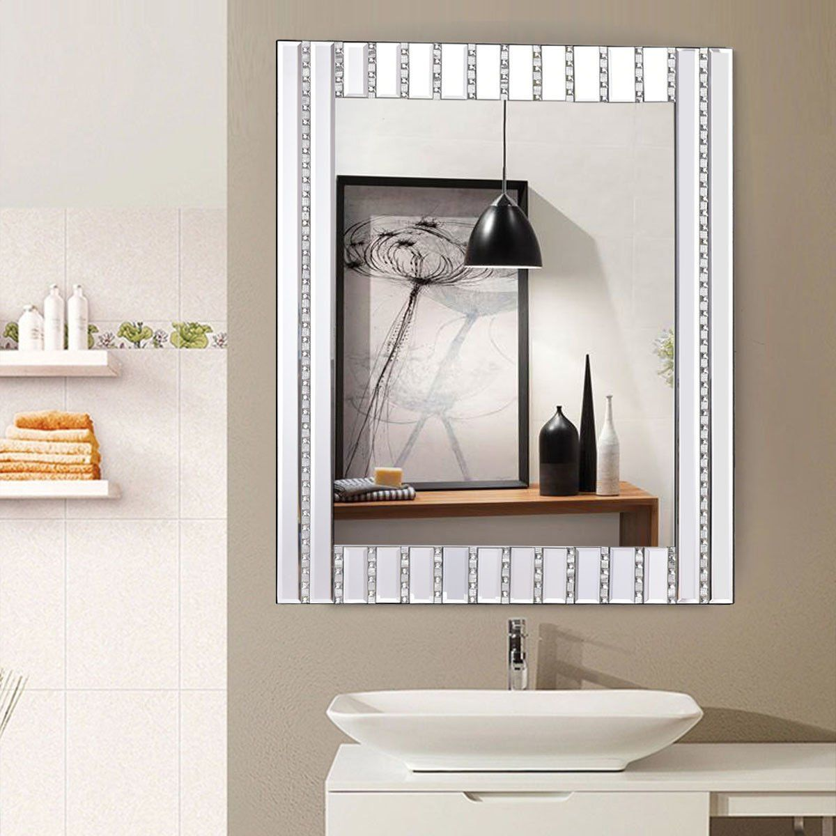 Tangkula 23 5 X 31 5 Wall Mirror Beveled Wood Frame Mirror Rectangle Bathroom Home Decor With Resin Diamond Mirro Wall Vanity Wood Framed Mirror Frames On Wall [ 1200 x 1200 Pixel ]