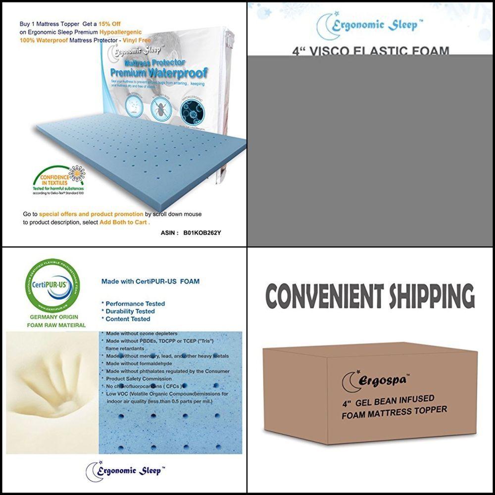 gel foam mattress topper pad 4 twin blue hypoallergenic