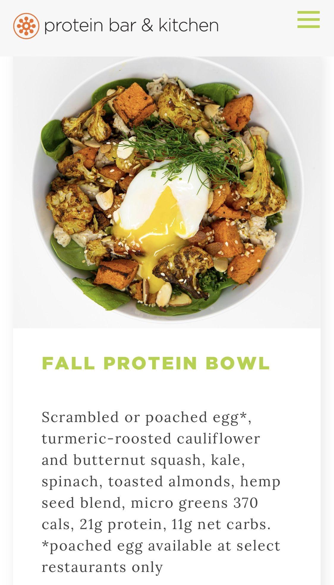 Protein Bar Seasonal Bfast Bowl Restaurant Recipes Egg Restaurant Protein Bowls