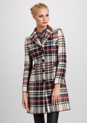 LOVE MOSCHINO Plaid Trench Coat This is super for Liz