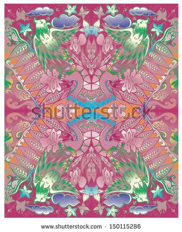 vector batik javanese indonesia in red wild color