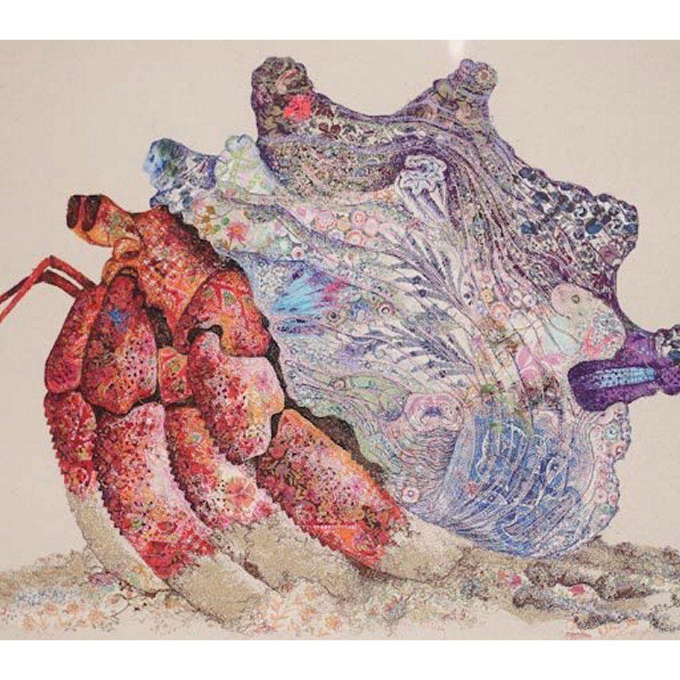 Kilifi Red hermit crab   Sophie Standing Art   Textile ... Hermit Crab Art