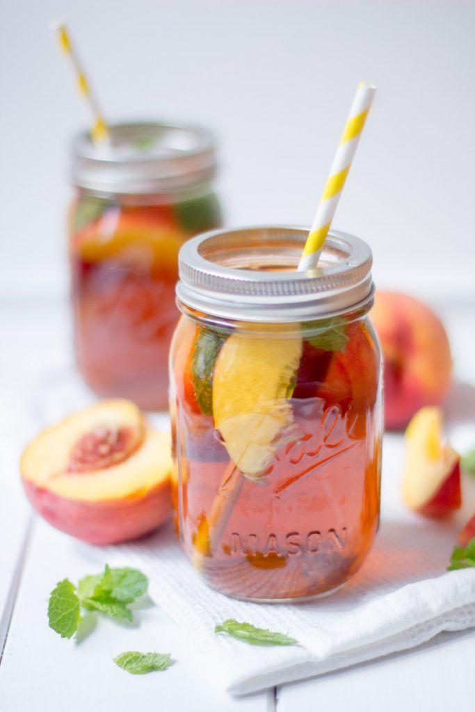 Selbstgemachter Pfirsich Eistee: Perfekte Erfrischung an heißen Tagen! #fooddiy