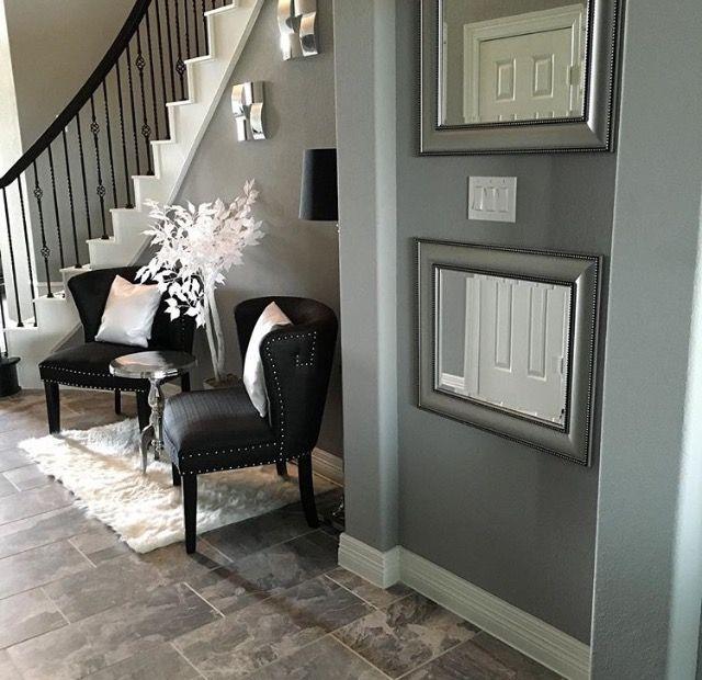 Modern Glam Foyer Black White Silver Grey Spiral Staircase