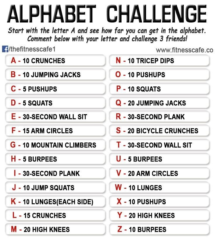 Alphabet Workout, Challenges, I Work Out