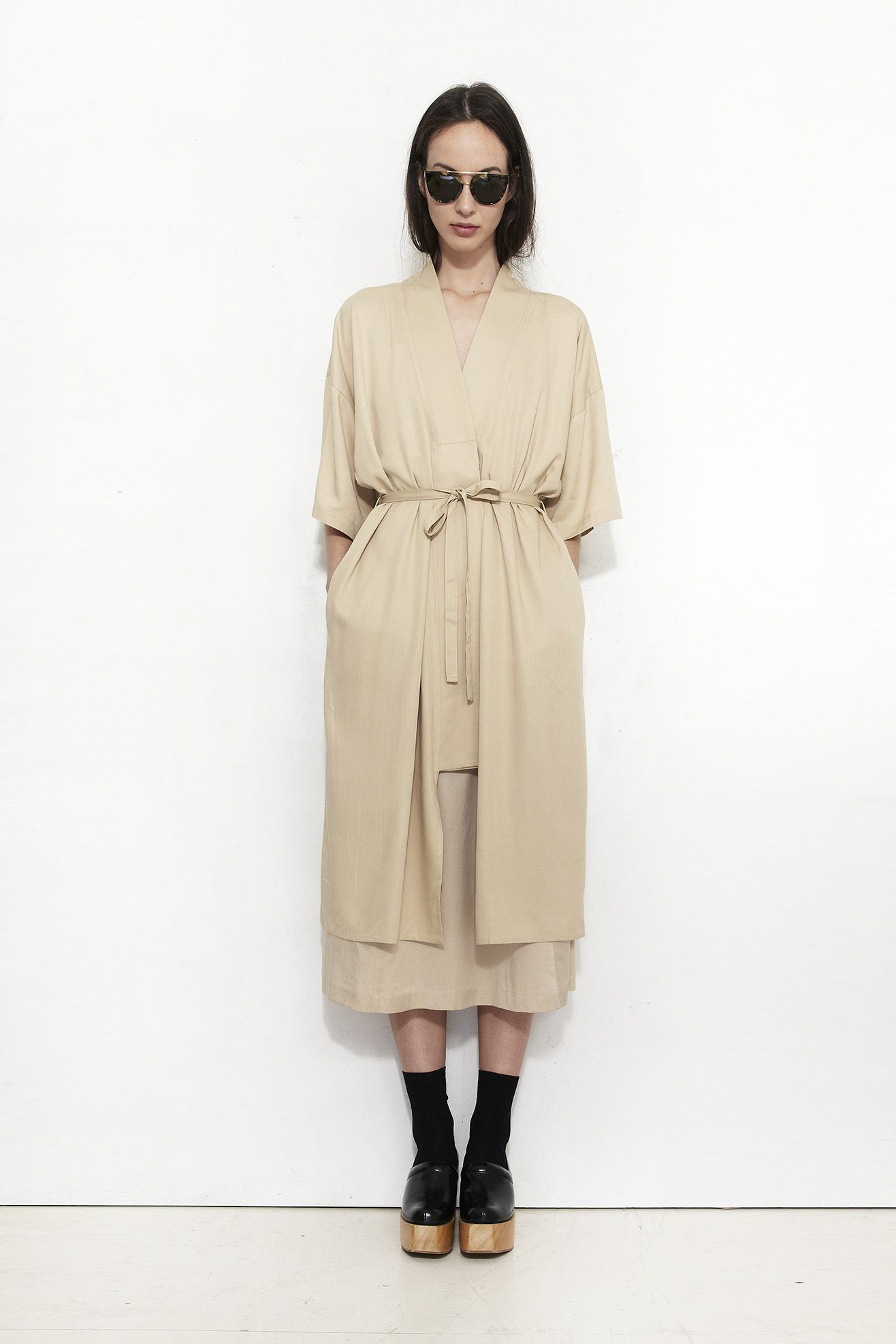 Shaina Mote Robe Dress Camel Mr Larkin
