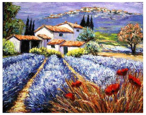 Tableau Peinture Lavande Provence Coquelicots Baux Paysages