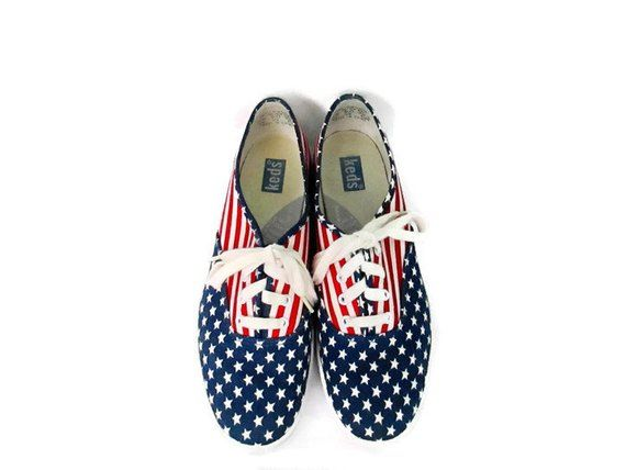 0e76ae83d6e Vintage Keds Stars and Stripes Sneakers 1990 s Red White and Blue Canvas Tennis  Shoes 90 s Keds ...