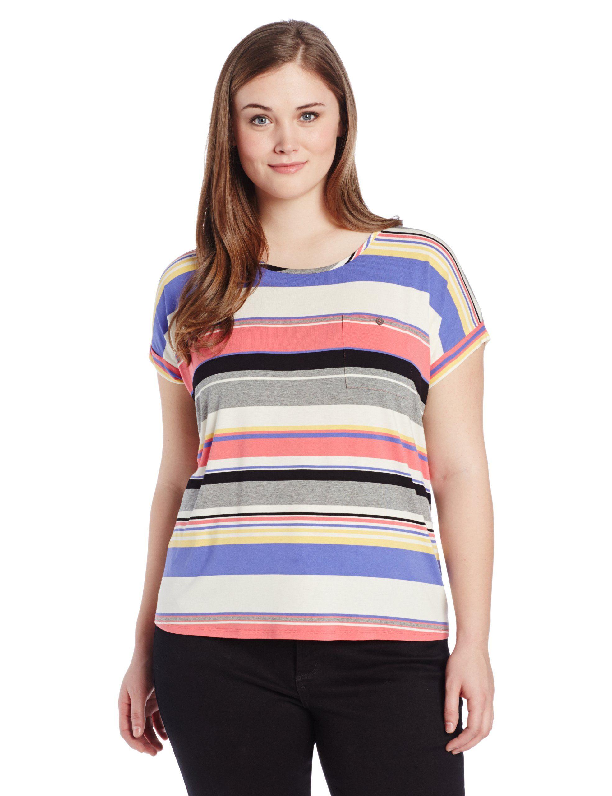 e73787d2 Two by Vince Camuto Women's Plus-Size Happy Stripe Pocket Tee Plus, Granita  Pink, 3X