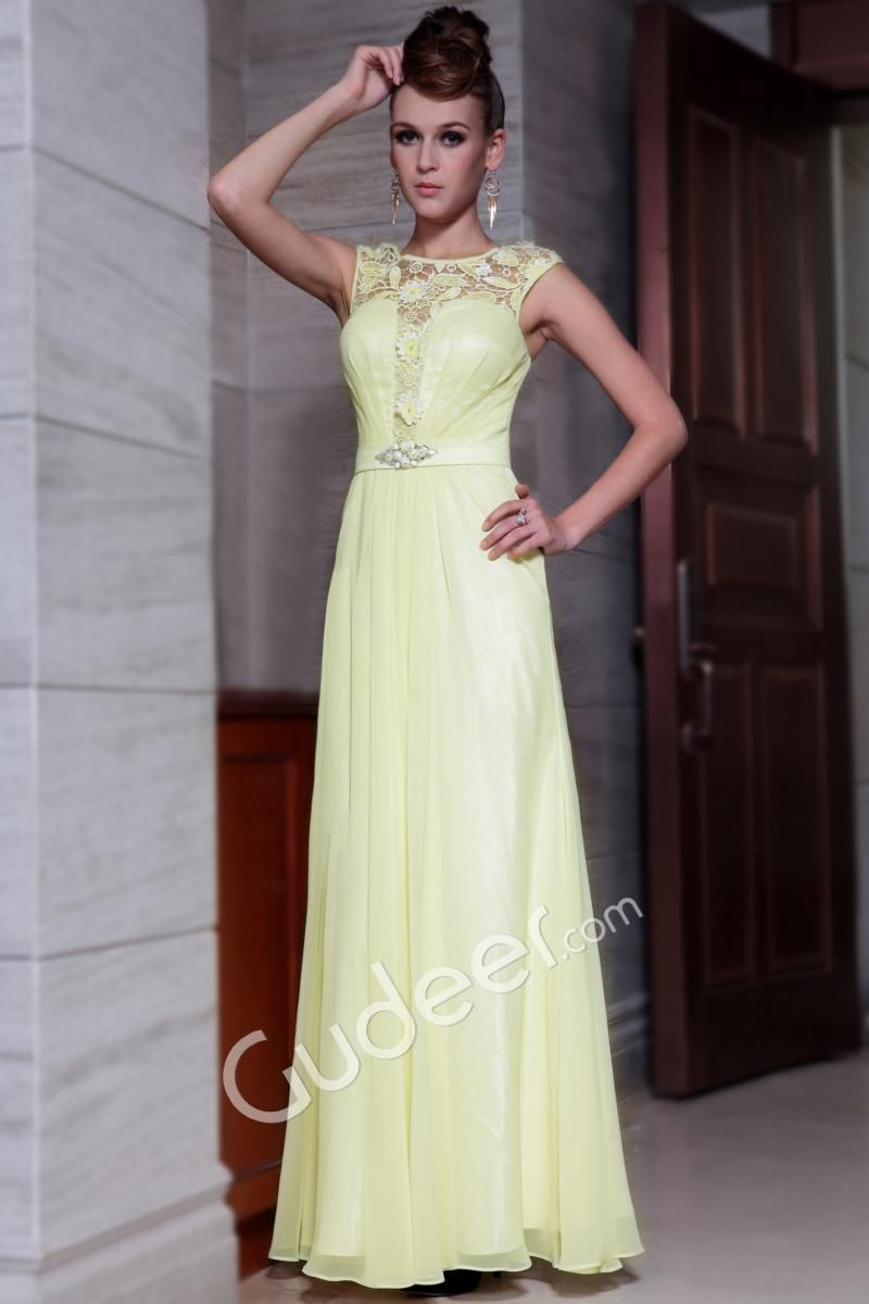 Sleeveless lace boat neck aline long prom formal dress fashion