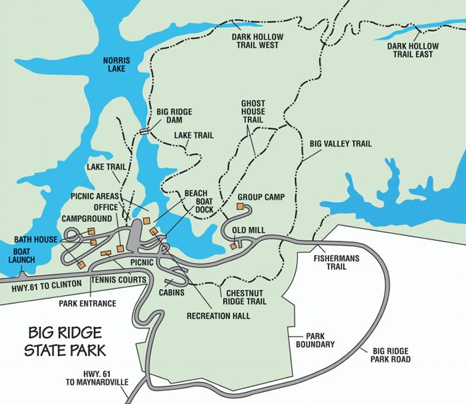 State Parks Tennessee Map.Map Of Big Ridge State Park On Norris Lake State Parks Pinterest