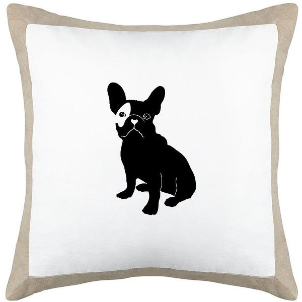 "French Bulldog Beige Canvas and Microsuede 18"" Square Pillow (5T117-7F622-7C917) ($48) found on Polyvore featuring home, home decor, throw pillows, home textiles, cream throw pillows, canvas throw pillows, cream colored throw pillows, patterned throw pillows and off white throw pillows"