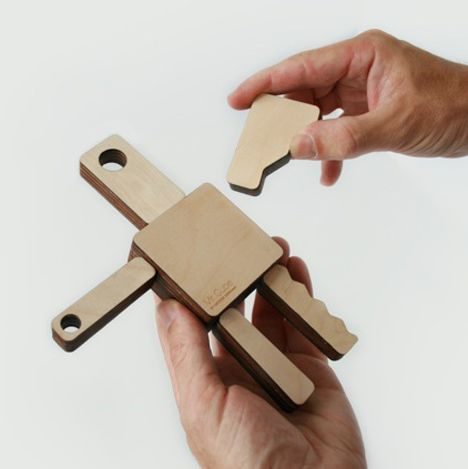 Reconfigurable wooden figures by Hector Serrano.