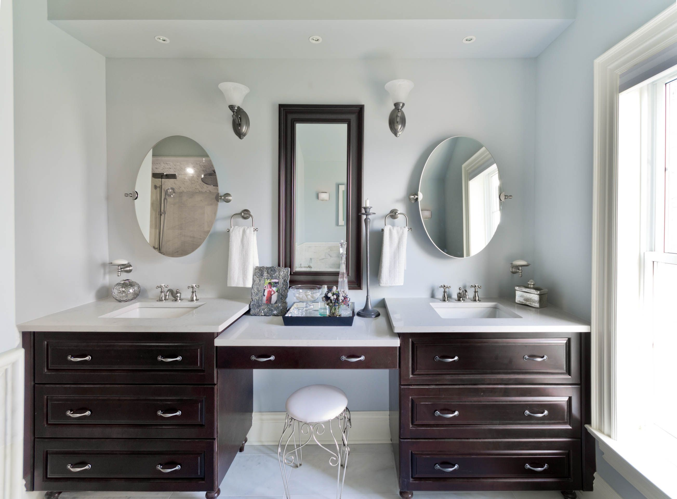 Double Vanity with makeup station For the Home Pinterest