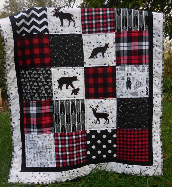 Plaid Baby Quilt: Northwoods Baby Quilt/Forest Quilt/Bear/Deer/Red Black