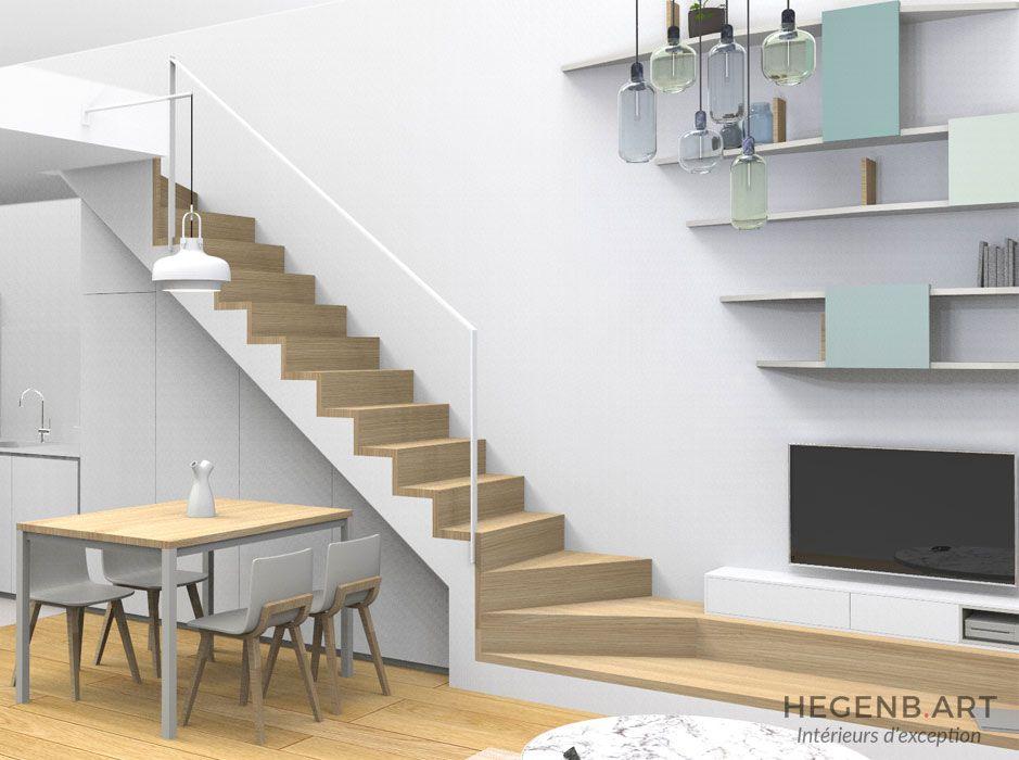 Escalier-sur-mesure-original-avec-rangements-optimisés Les deux - Meuble Tv Avec Rangement