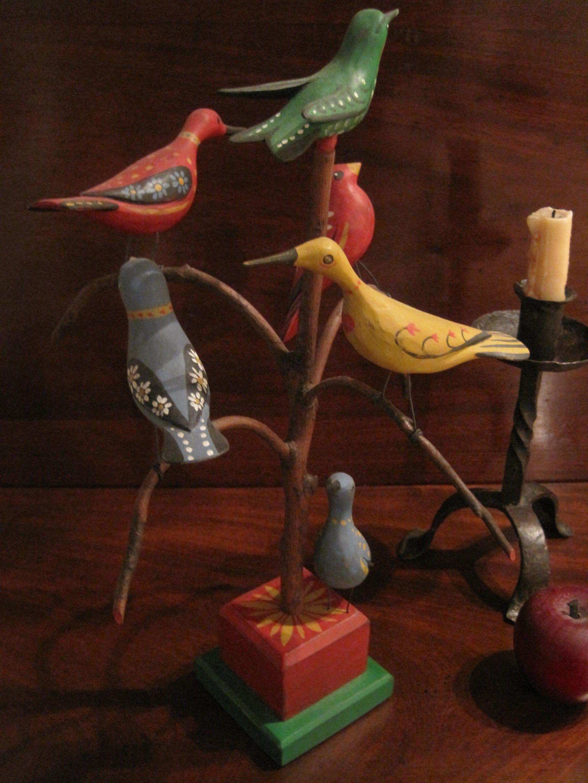 Folk Art Carved Bird Tree 20th Century World Renowned Artist M.K. Scheel  Sold  by North Bayshore Antiques $675.00