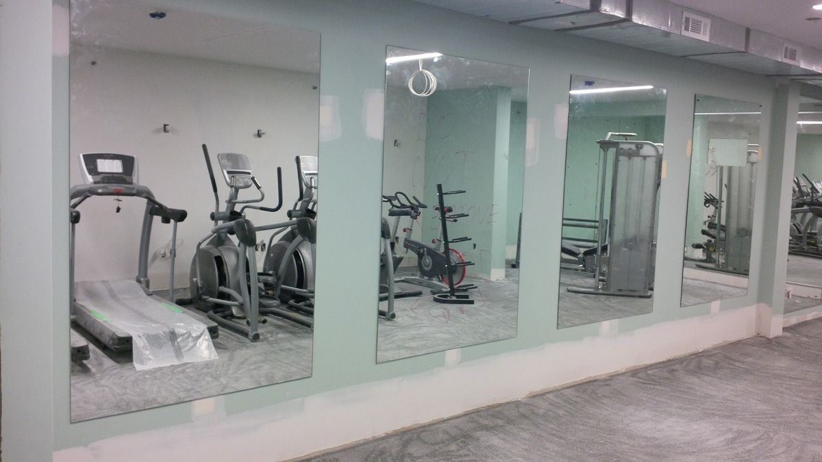 Unique Large Frameless Wall Mirrors for Gym