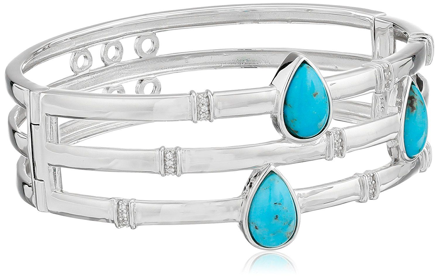 Sterling Silver Genuine Stabilized Turquoise with Created White Sapphire Accent Bangle Cuff Bracelet *** Insider's special review you can't miss. Read more  : trend jewelry 2016