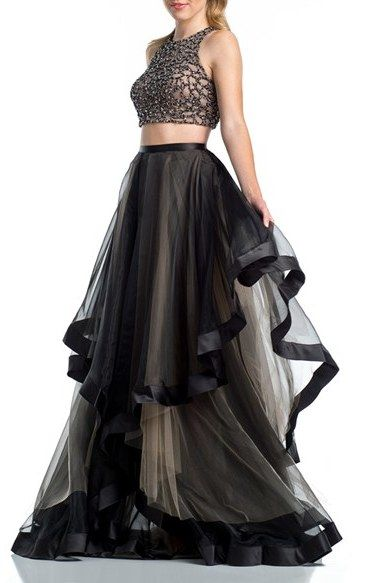 683fbfe12bec Glamour by Terani Couture Beaded Top & Organza Two-Piece Ballgown ...