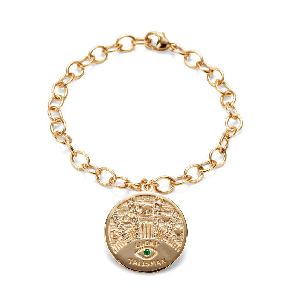Marlo Laz Talisman Coin 14K Gold Necklace K1A27cJ