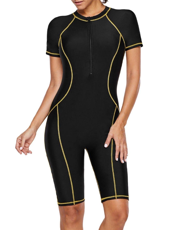 Half Zip Short Sleeve Sporty Swimsuit One piece swimwear