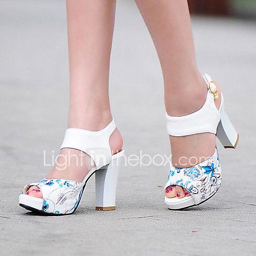 Mujer Zapatos PU Verano Confort Sandalias Paseo Tacón Cuadrado Punta abierta Hebilla Negro / Verde / Color Camello 26QzmM