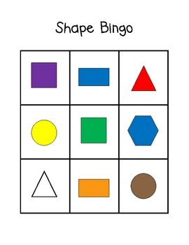 Colors And Shapes Bingo Free Preschool Printables Shapes Shapes For Kids