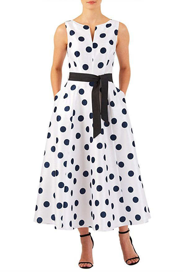 Black on White Polka dot print dupioni midi dress $64.95 AT vintagedancer.com