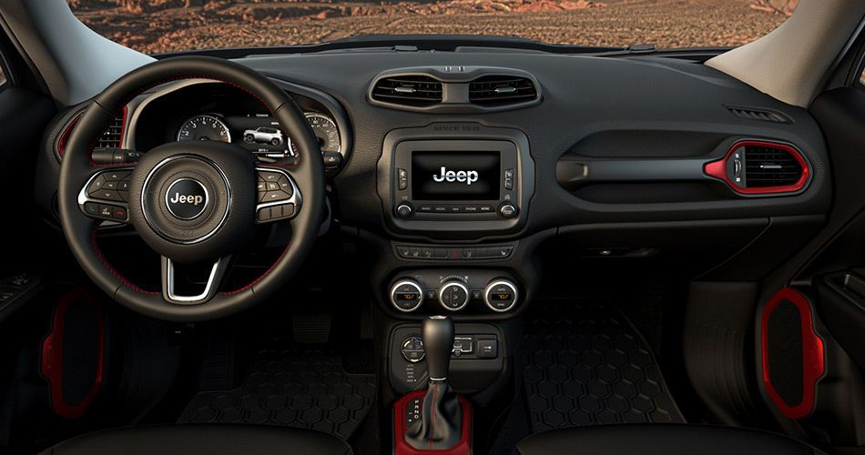 2015 Jeep Renegade Trailhawk Leather Interior Seats Black And Red Jeep Renegade Jeep Renegade Interior Jeep