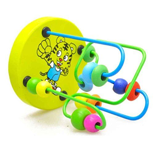 Children Kids Baby Colorful Wooden Mini Around Beads Educational Game Toy Gift