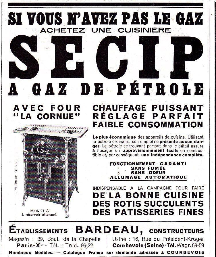 PUBLICITE de presse Cuisinière à gaz de pétrole SECIP 1933