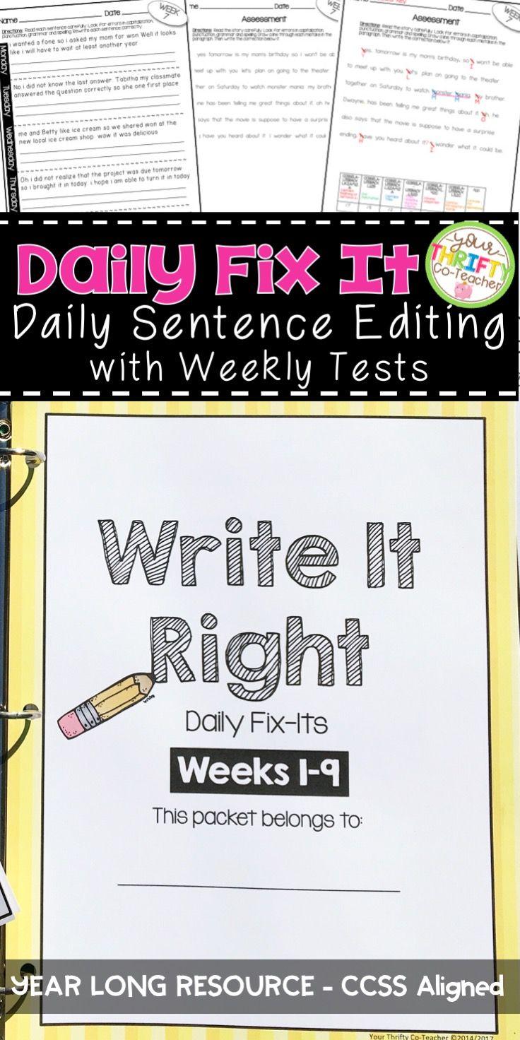 5th Grade Daily Oral Language Sentences Morning Work Daily Language Review Daily Oral Language Writing Lessons Teaching Writing