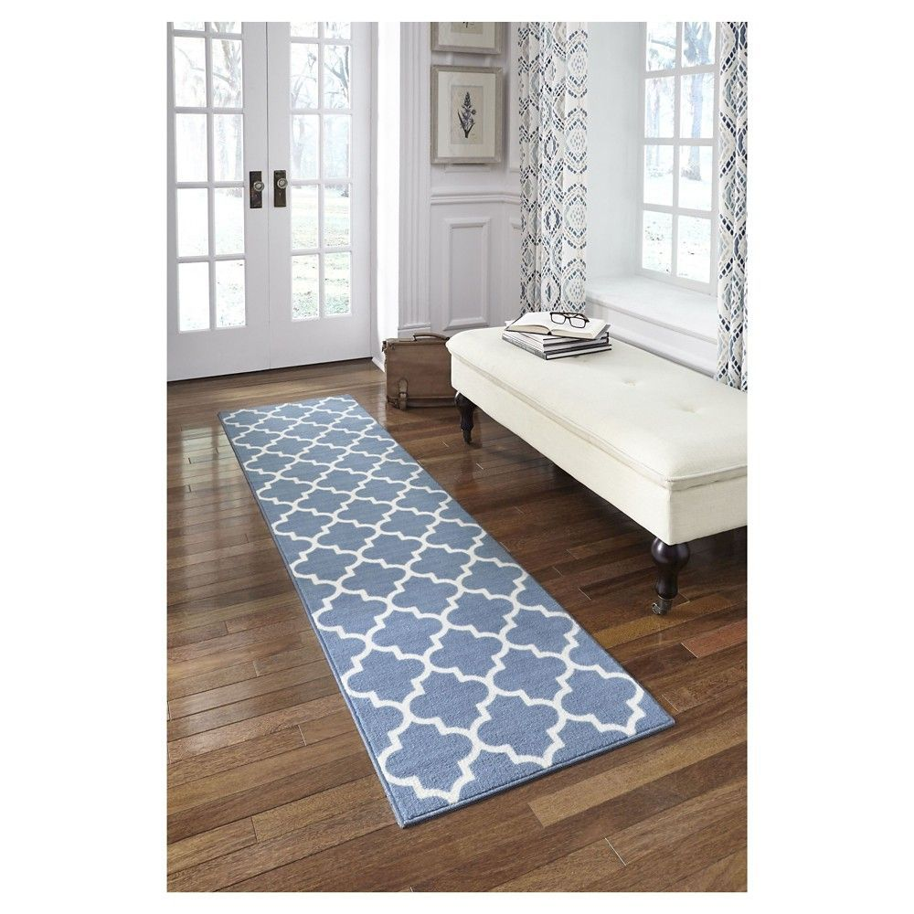 1 10 X7 Runner Fretwork Design Blue Threshold Home Shag