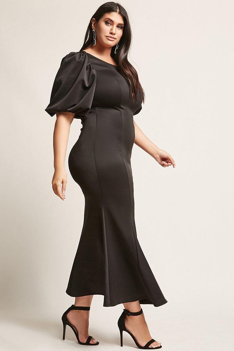 332c387773e Product Name Plus Size Balloon-Sleeve Mermaid Maxi Dress