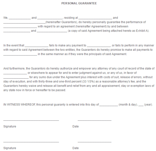 Personal Guarantee Form Template 111 Legal Forms – Personal Guarantee Form