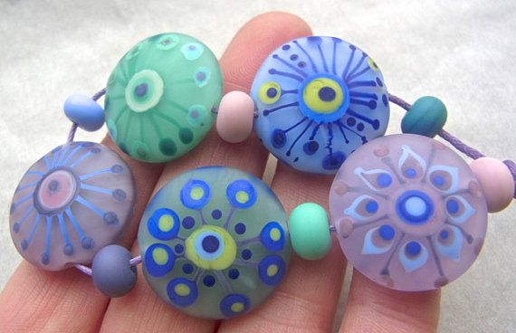 Softly Spoken - Handmade Lampwork Bead Set (11) by Anne Schelling, SRA