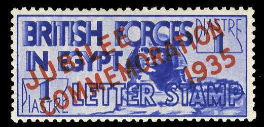 Egypt - Military mail stamps 1935 Silver Jubilee, l.h., v.f., signed Sieger (SG A10) (Catalog value £275)  Lot condition *  Dealer Cherrystone Auction  Auction Estimate ...