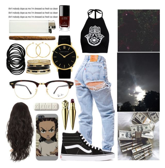 """""""chill in the smoggy room with me """" by queenxiliana ❤ liked on Polyvore featuring Vans, Christian Louboutin, Ray-Ban, Larsson & Jennings, GUESS, Dinny Hall and Chanel"""
