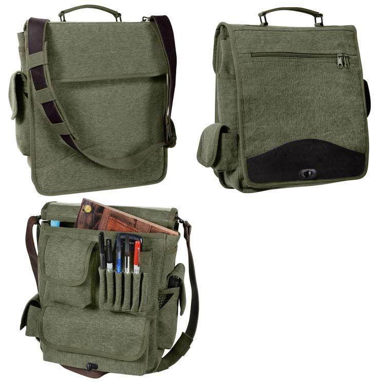 Satchel Shoulder School Military Airforce Pack Nylon New Black Para Pilot Bag